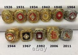 11pcs St. Louis Cardinals World Series Baseball Team Ring Set Wooden Box Gift