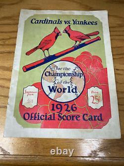 1926 World Series Program New York Yankees at St Louis Cardinals Sportsmans Park
