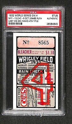 1932 WORLD SERIES Yankees 4TH WS TITLE Babe Ruth last WS GAME 4 TICKET PSA