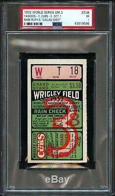 1932 World Series Game 3 Psa 1 Ticket Stub Cubs Yankees Babe Ruth's Called Shot
