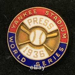 1936 New York Yankees NY Giants World Series Baseball Press Pin Org Dieges Clust