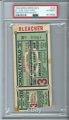 1939 World Series Game 3 Ticket Stub Yankees Reds Joe Dimaggio Ws Home Run 3 Psa