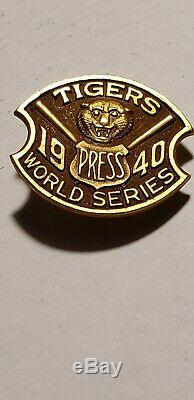 1940 WORLD SERIES Detroit Tigers PRESS PASS PIN MLB Baseball BRIGGS STADIUM Rare