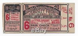 1940 World Series ticket Cincinnati Reds Detroit Tigers G 6