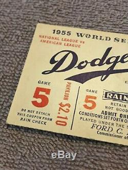 1955 MLB World Series Game 5 Brooklyn Dodgers vs Yankees Ticket Ebbetts Field