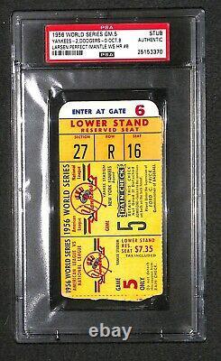 1956 World Series GAME 5 bleacher ticket Yankees DON LARSEN PERFECT GAME PSA