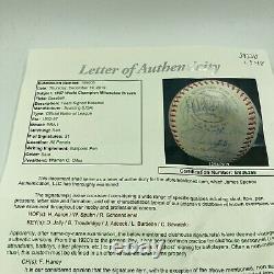 1957 Milwaukee Braves World Series Champs Team Signed Baseball Hank Aaron JSA