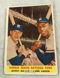 1958 TOPPS Baseball Card Original WORLD SERIES BATTING FOES Mickey Mantle and