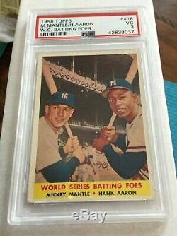 1958 Topps #418 MICKEY MANTLE Hank Aaron PSA 3 VG World Series Batting Foes