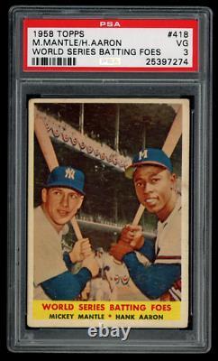 1958 Topps # 418 Mantle 7 / Aaron 44 World Series Batting Foes Psa 3 Vg