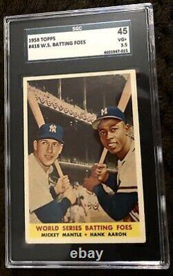 1958 Topps #418 Mickey Mantle Hank Aaron World Series Batting Foes SGC 3.5 50/50