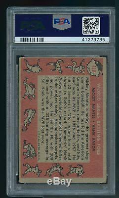 1958 Topps #418 World Series Batting Foes Hank Aaron Mickey Mantle PSA 1.5