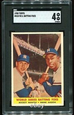 1958 Topps #418 World Series Batting Foes Hank Aaron Mickey Mantle SGC 4 VG-EX