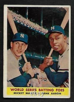 1958 Topps #418 World Series Batting Foes Mickey Mantle Hank Aaron GD/VG