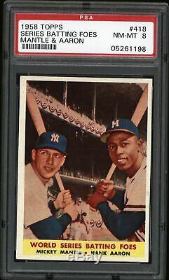 1958 Topps #418 World Series Batting Foes Mickey Mantle & Hank Aaron PSA 8 NM-MT