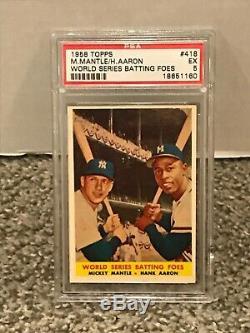 1958 Topps #418 World Series Batting Foes PSA 5 MICKEY MANTLE & HANK AARON