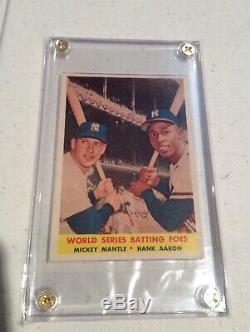 1958 Topps Baseball #418 World Series Batting Foes Mantle Aaron VG+