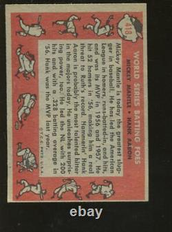 1958 Topps Baseball Card #418 World Series Foes Mickey Mantle & Hank Aaron EXMT