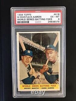 1958 Topps Mickey Mantle Hank Aaron World Series BATTING FOES #418 PSA 6 EX-MT