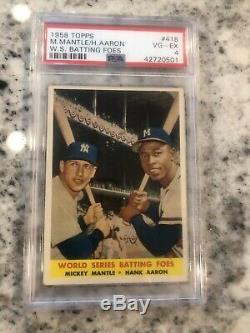1958 Topps Psa 4 Mickey Mantle Hank Aaron #418 World Series Batting Foes