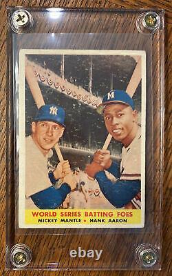 1958 Topps WORLD SERIES BATTING FOES, Mickey Mantle Hank-Aaron, card #418