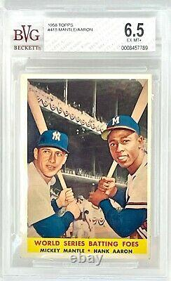 1958 Topps World Series Batting Foes #418 Mickey Mantle / Hank Aaron BVG 6.5