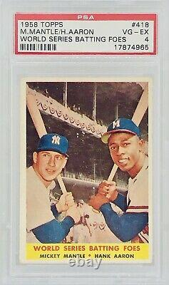 1958 Topps World Series Batting Foes Mickey Mantle / Hank Aaron #418 PSA 4 BEAUT