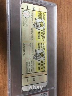 1958 World Series Game 7 Full Ticket PSA New York Yankees Braves