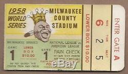 1958 World Series ticket New York Yankees Milwaukee Braves Gm 1 Spahn WIN
