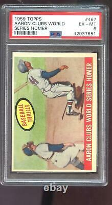 1959 Topps #467 Hank Aaron Thrills World Series Homer PSA 6 Graded Baseball Card