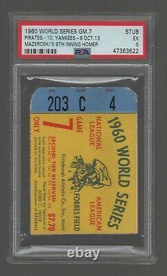 1960 World Series Ticket Game 7 PSA 5 Yankees Pirates Mazeroski Walk Off HR