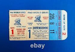 1960 World Series Vintage Baseball Ticket Stub Game #1 Roberto Clemente 1st