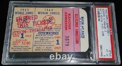 1963 WORLD SERIES GAME 1 TICKET LA DODGERS SANDY KOUFAX 15 K's STRIKEOUTS PSA 4