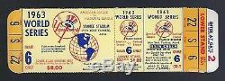 1963 World Series La Dodgers @ New York Yankees Full Unused Baseball Ticket Gm#6