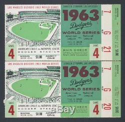 1963 World Series Ticket Stubs (2)sandy Koufaxgame 4prime Seatsdodgers