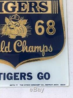 1968 Detroit Tigers World Series Champion Strohs Beer Glass Sign Mirror Display
