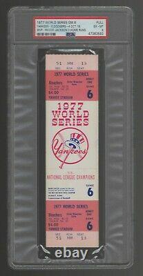 1977 World Series Full Ticket Game 6 Reggie Jackson 3 Home Runs Hrs PSA 6