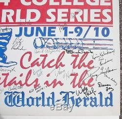1984 TEXAS LONGHORNS Baseball Team Signed OMAHA COLLEGE WORLD SERIES Poster