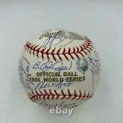 1986 New York Mets WS Champs Team Signed World Series Baseball With Steiner COA