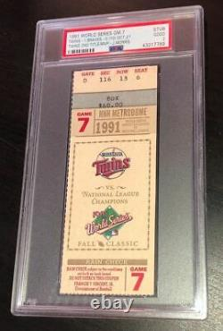 1991 World Series Game 7 Minnesota Twins Vs Braves Ticket Psa 2 Jack Morris