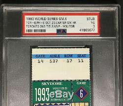 1993 World Series Baseball Ticket Game 6 Joe Carter Walk Off Winning Home Run