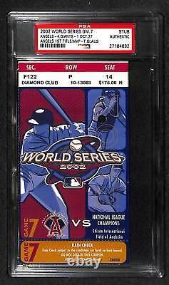 2002 World Series Game 7 Anaheim Angels 1st Ws Title Champions Ticket Psa Rare