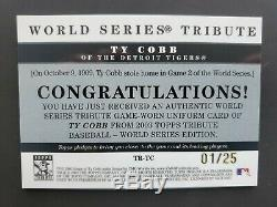 2003 Topps Tribute World Series Gold Ty Cobb Game Used Pinstripe Jersey Sp 1/25
