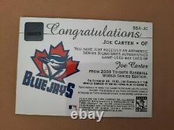 2003 Topps Tribute World Series Signature Relics Joe Carter bat auto Blue Jays