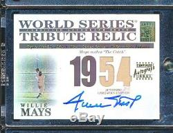 2003 Topps tribute WOrld Series Relic Dual JErsey AUto Willlie Mays THE CATCH