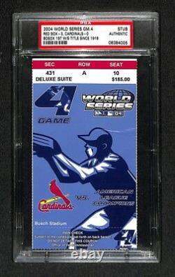 2004 BOSTON RED SOX WORLD SERIES GAME 4 TICKET 6th TITLE MANNY RAMIREZ MVP PSA