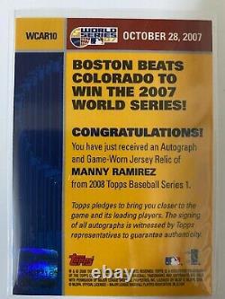 2008 Topps 2007 World Series Auto Jersey Relic Manny Ramirez Boston Red Sox 1/50