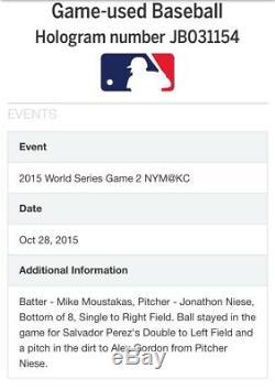 2015 Kansas City Royals Game Used World Series Baseball Alex Gordon RBI Double