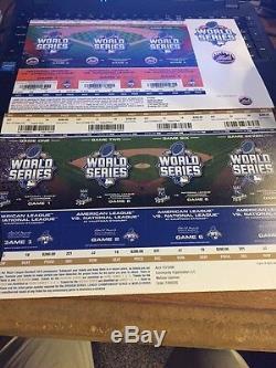 2015 New York Mets Vs Kansas City Royals World Series Ticket Stubs Strip 1-7