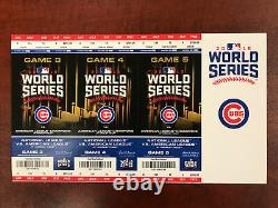 2016 Chicago Cubs World Series Game 3, 4 and 5 Full Ticket stub in strip